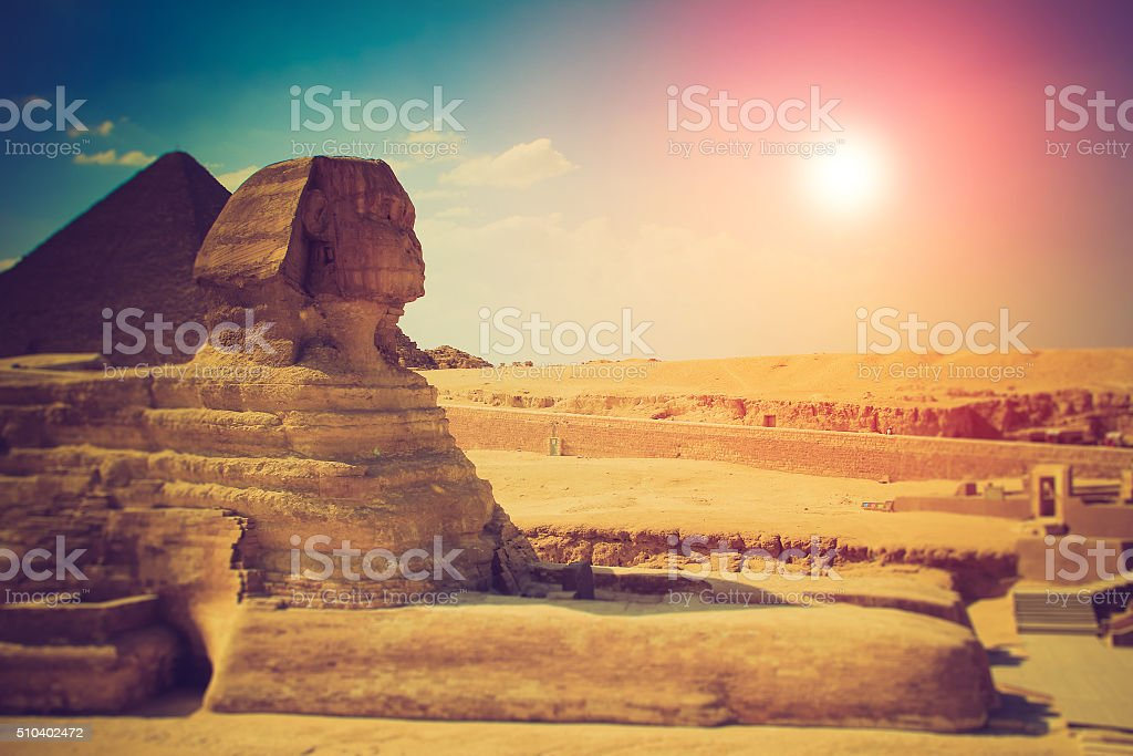 The full profile of the Great Sphinx . Giza. stock photo