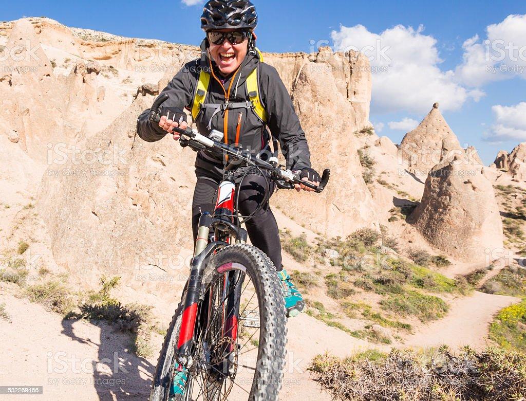The fun of Cappadocia Mountainbiking stock photo