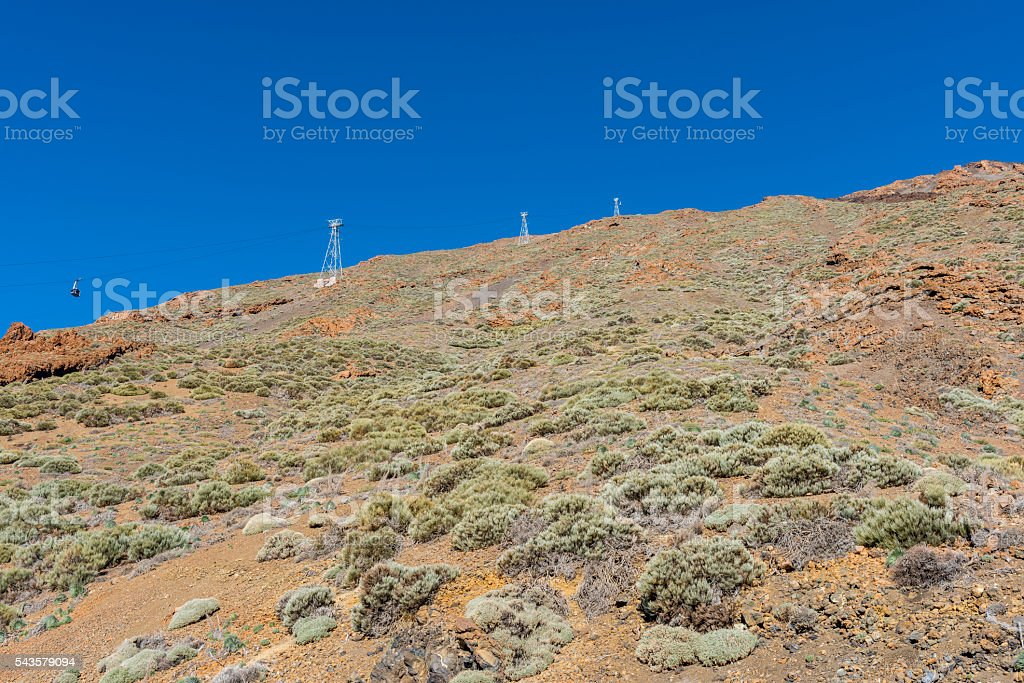 The funicular on the slopes of Teide stock photo