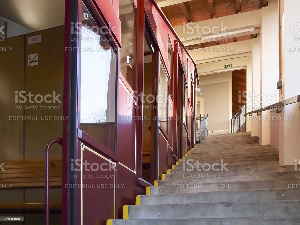 The funicular to Mount bre stock photo
