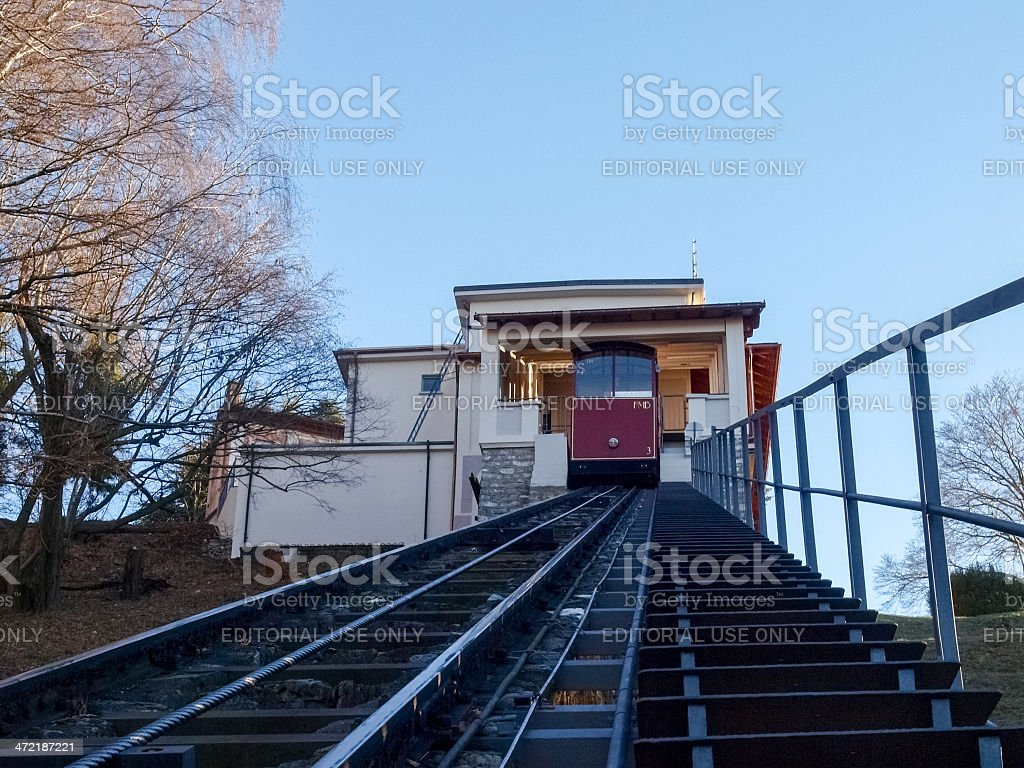 The funicular to Mount bre, the station and tracks stock photo