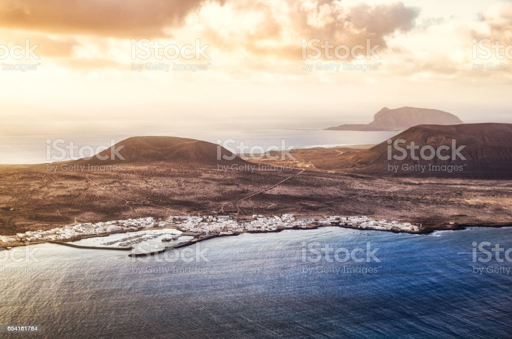 la graciosa archipielago chinijo lanzarote aerial view stock photo