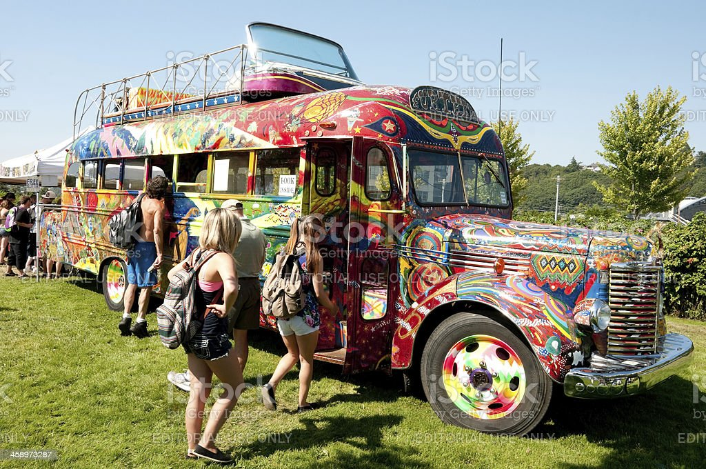 The Further Bus at Hempfest stock photo