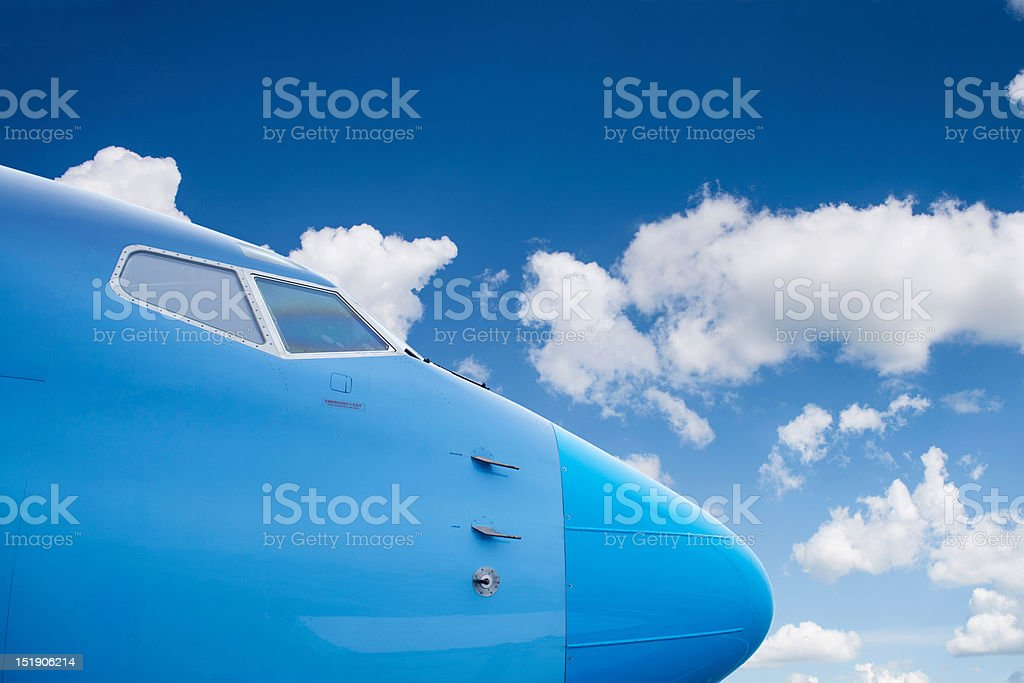 The fuselage of an airplane stock photo