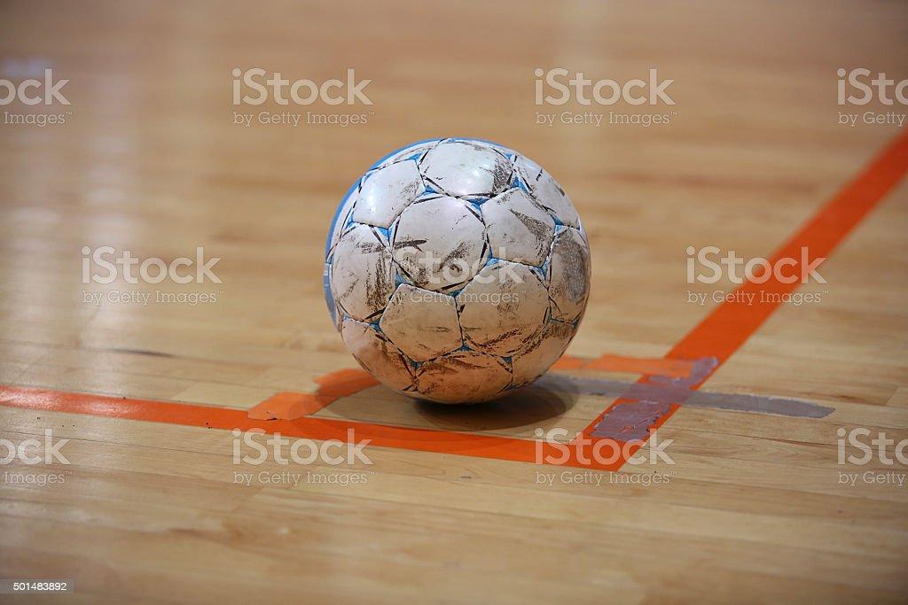 The futsal ball on the corner stock photo