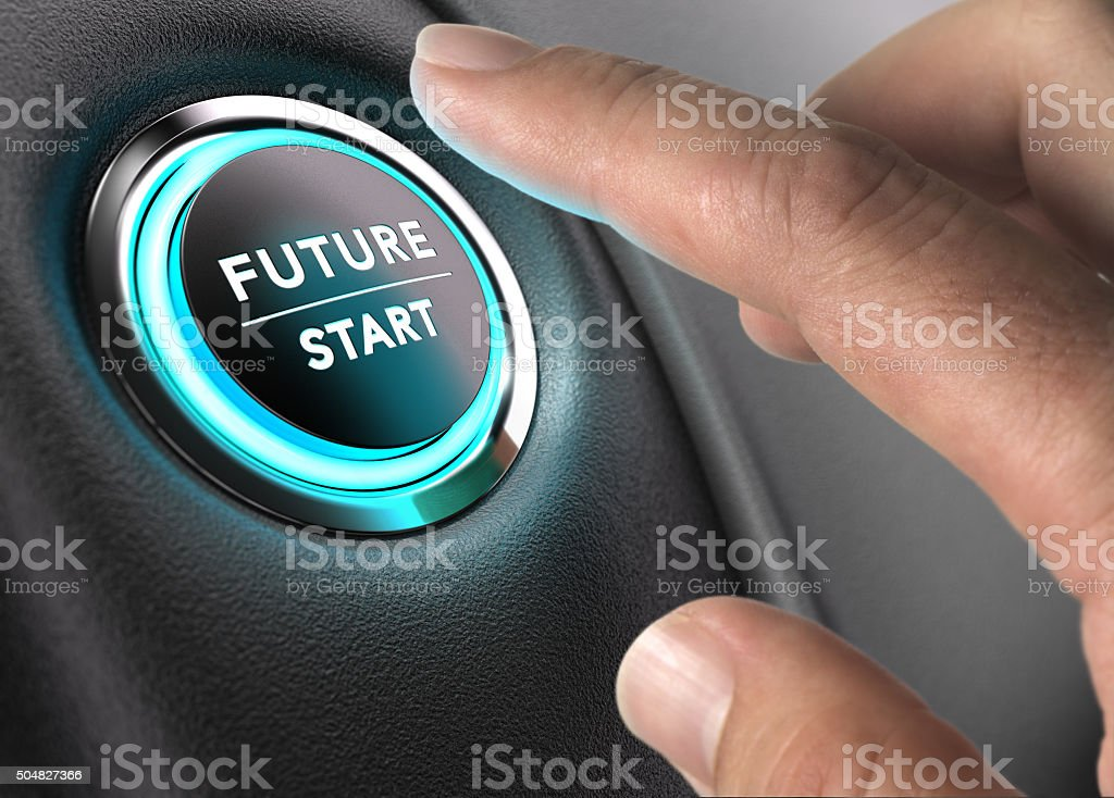 Finger about to press future button with blue light over black and...