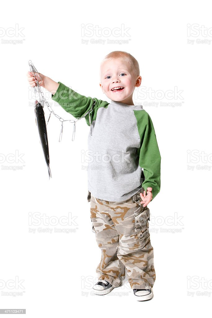 The future of fishing holds up his stringer proudly stock photo