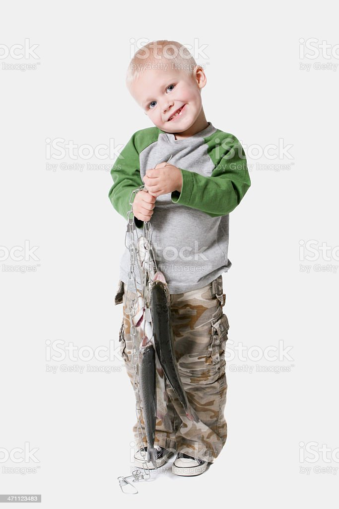 The future of fishing with a smile and fish royalty-free stock photo