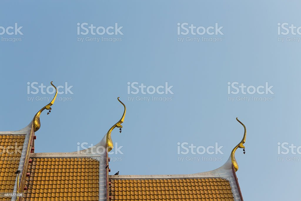 the gable apex with small bell stock photo