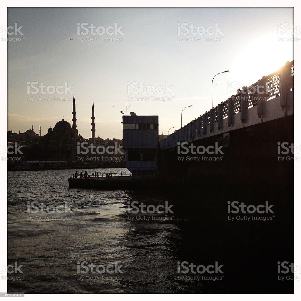 The Galata bridge in Istanbul royalty-free stock photo