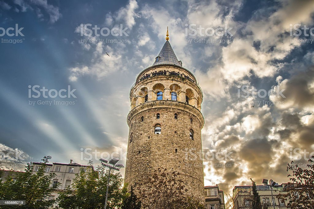 The Galata Tower, Istanbul, Turkey stock photo