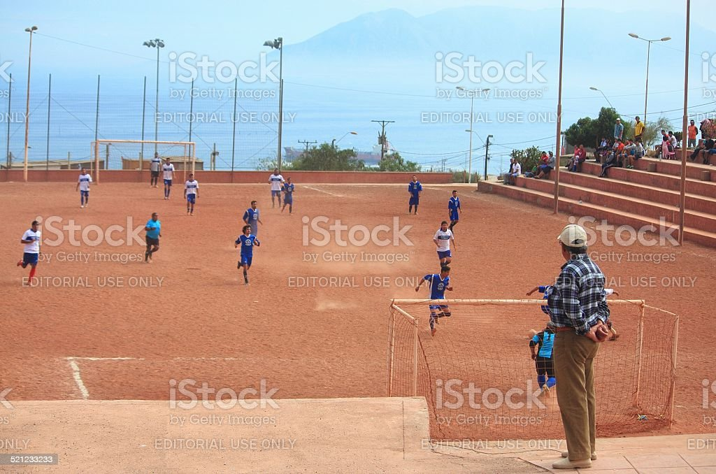 the game of amateur teams in Antofagasta, Chile stock photo
