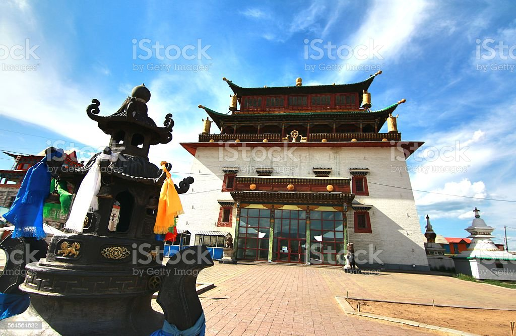 The Gandantegchinlen Monastery at Ulaanbaatar, Mongolia stock photo