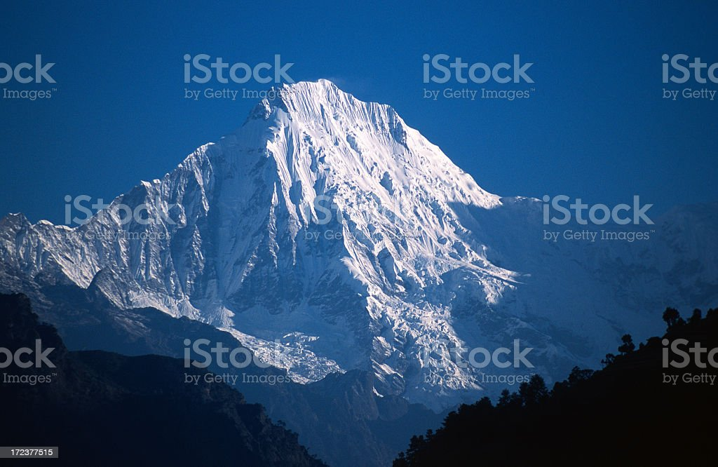 The Ganesh Himal covered in snow stock photo