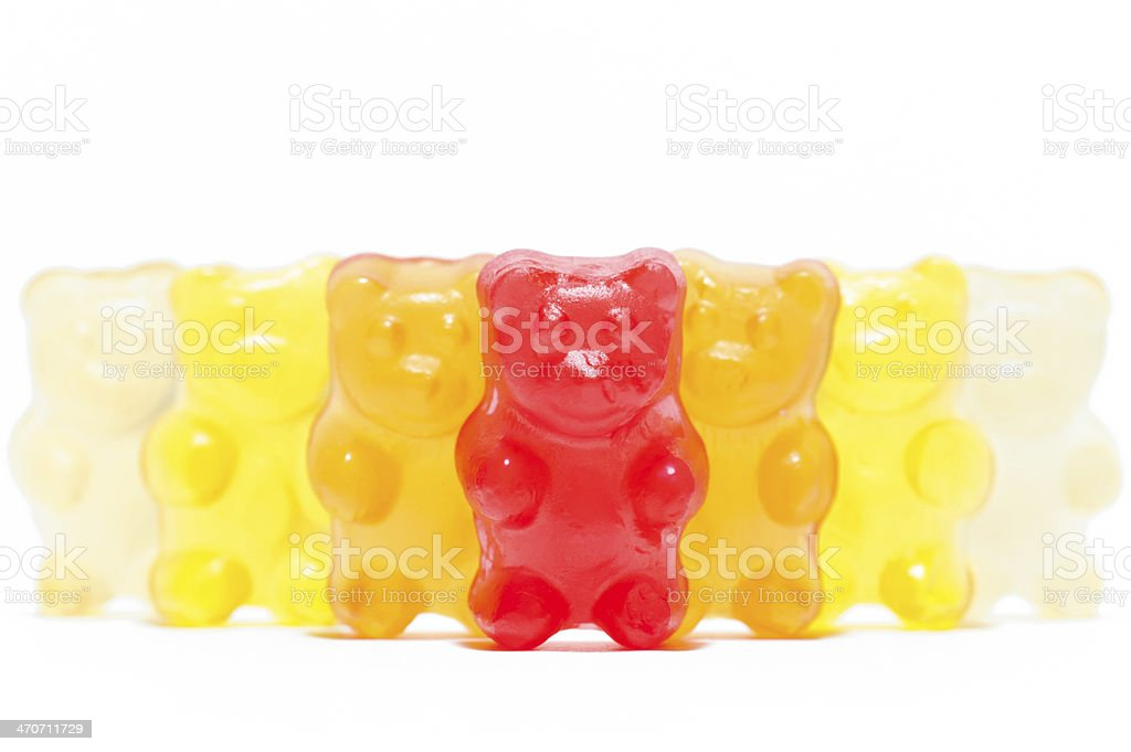 The gang of colorful teddy bears stock photo