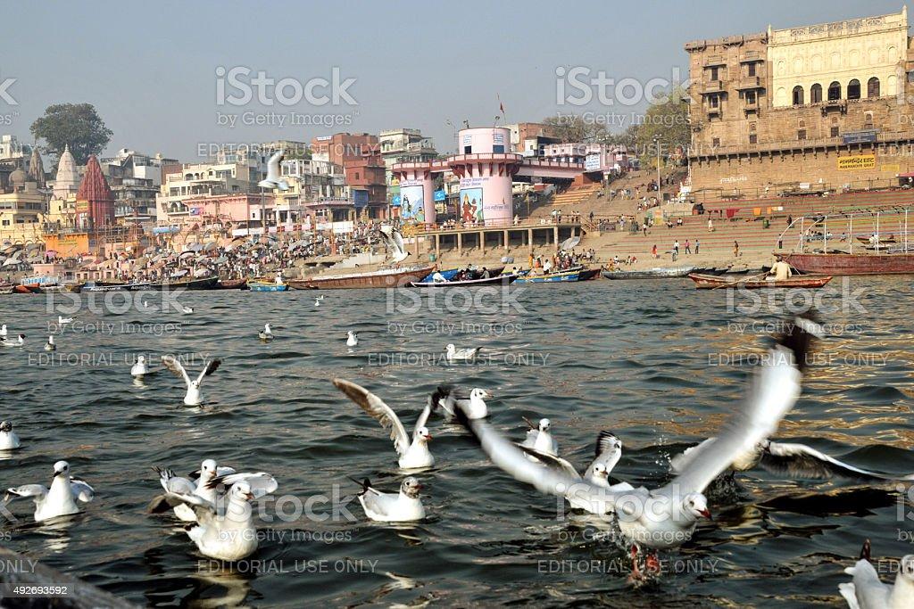The ganges ghat at varanasi. stock photo