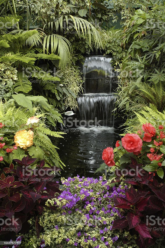 The Garden and Waterfall stock photo