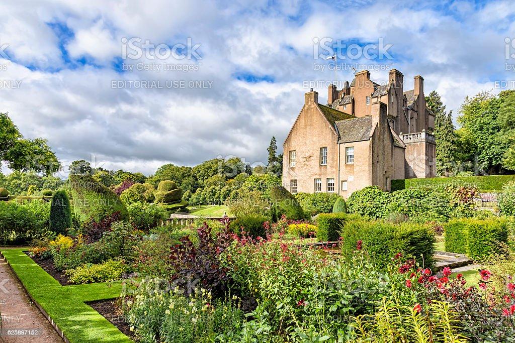 The garden of Crathes castle in Scotland, United kingdom stock photo