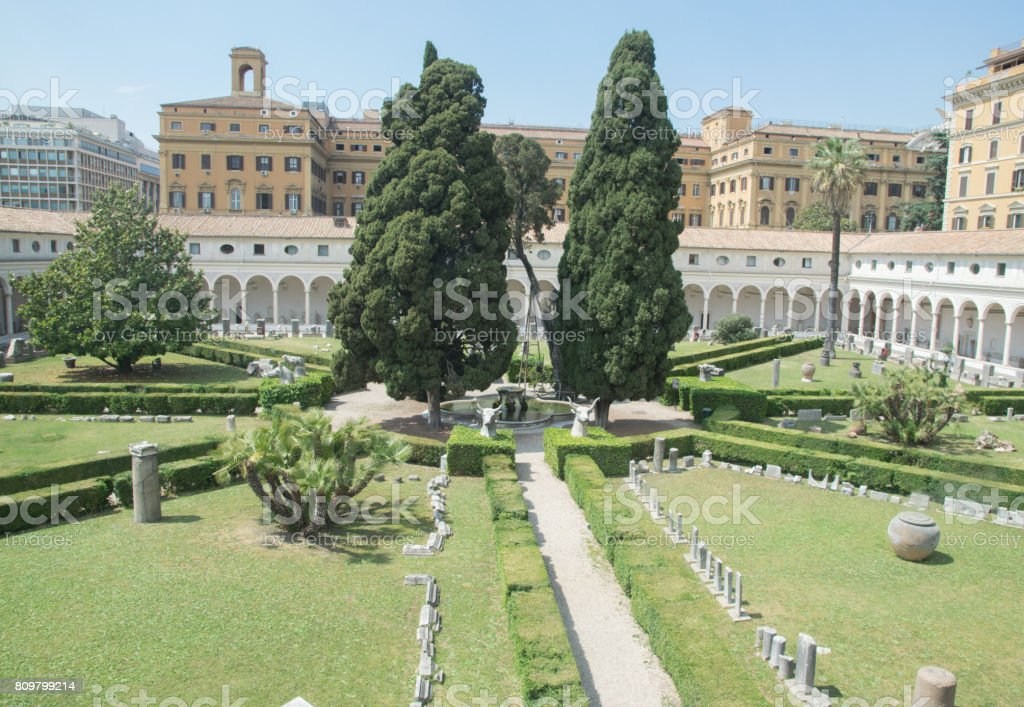 The Garden of The Diocletian Baths in Rome, with archaeologic sculpture around stock photo