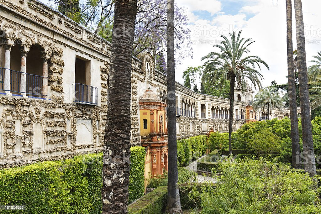 The gardens of Alcazar in Seville royalty-free stock photo