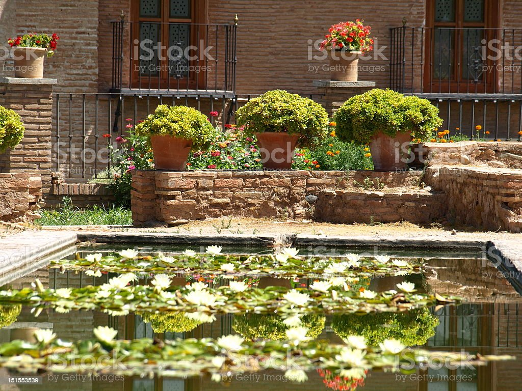 The gardens of Alhambra, Granada royalty-free stock photo