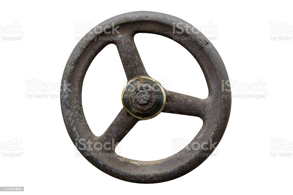 The gas valve open wheel over white background royalty-free stock photo