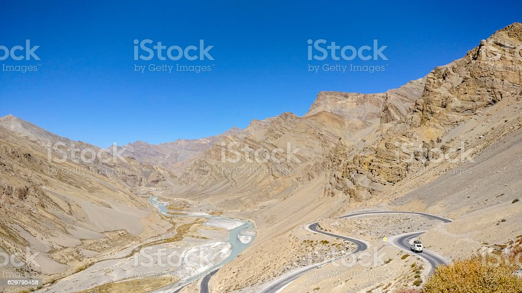 The Gata loops on the Leh Manali Highway stock photo