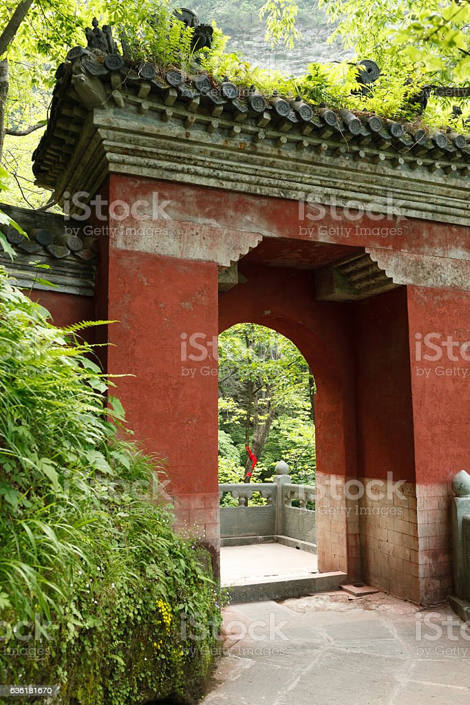 The gate in the monastery stock photo