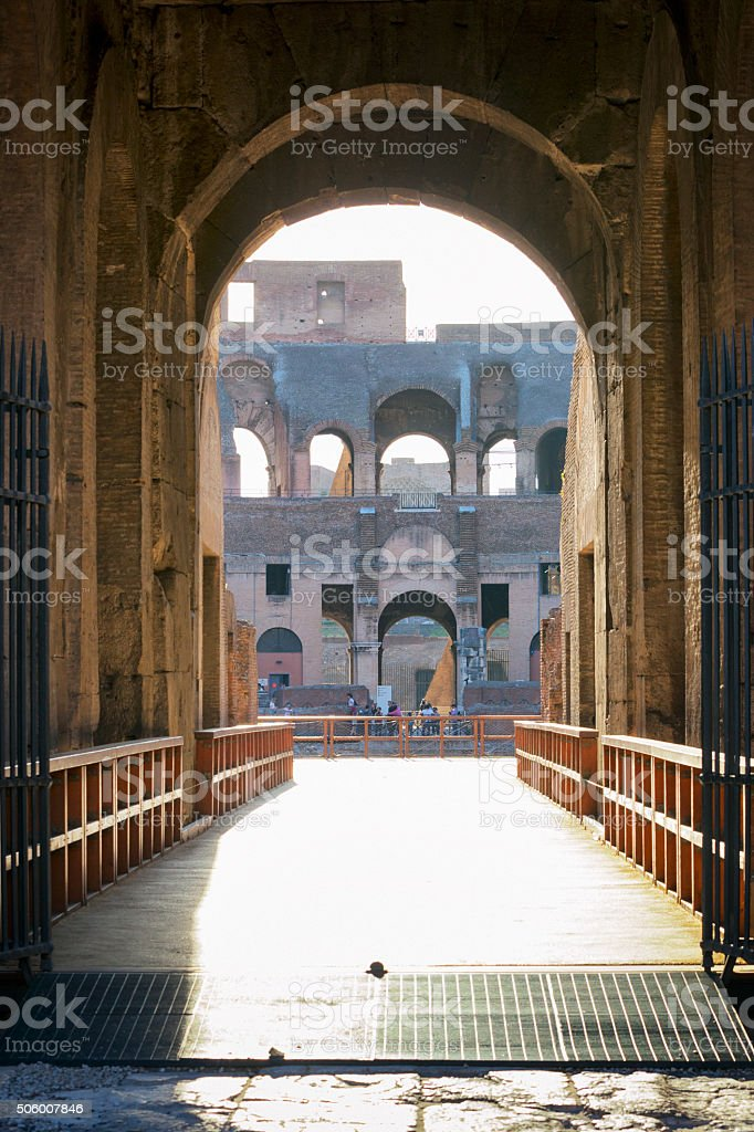 The Gate of Life at the Colosseum in Rome, Italy stock photo