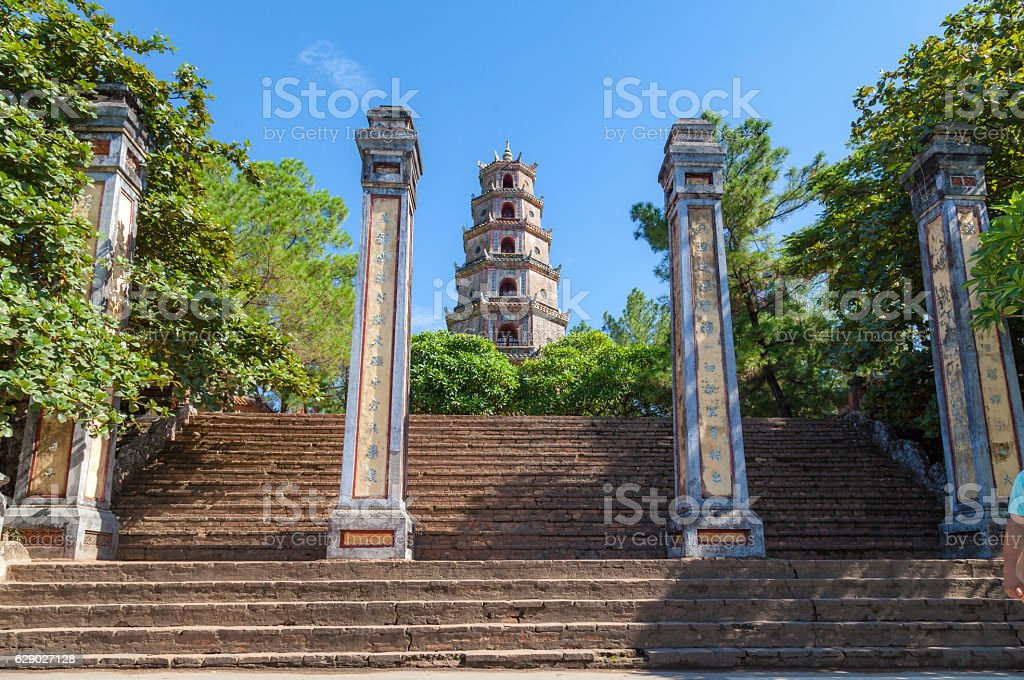 The gate of ThienMu Pagoda in Hue, VietNam stock photo
