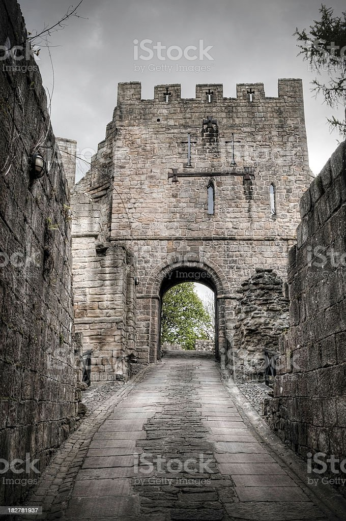 'The Gatehouse, Barbican, Prudhoe Castle, Northumberland, UK' stock photo