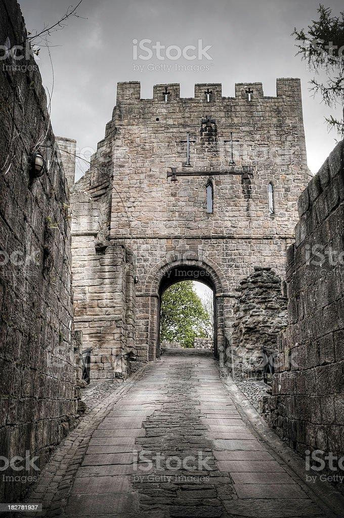 The Gatehouse, Barbican, Prudhoe Castle, Northumberland, UK stock photo