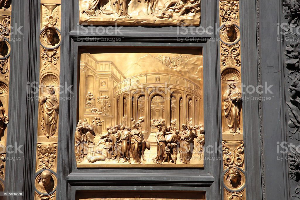 The Gates of Paradise detail, Florence, Italy stock photo