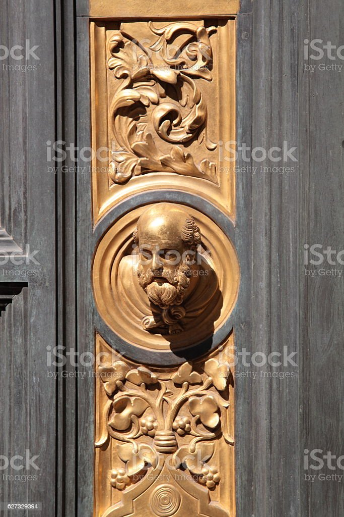 The Gates of Paradise detail, Florence, Italy stock photo