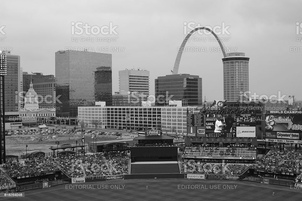 The Gateway Arch as seen from Busch Stadium III stock photo