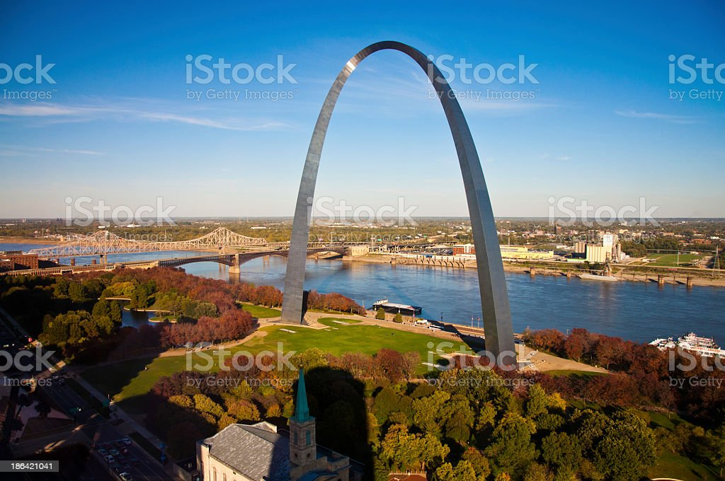 The Gateway Arch of St Louis, Missouri, taken from the sky stock photo