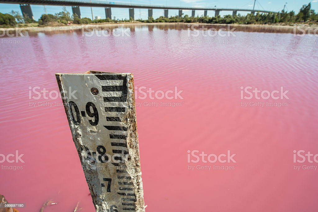 The gauge of water level at Pink lake, Melbourne. stock photo