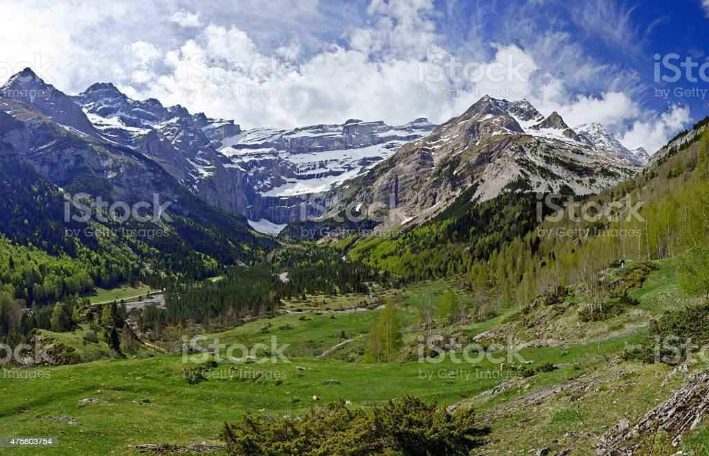 The Gavarnie Circus in French Haute Pyrenees stock photo