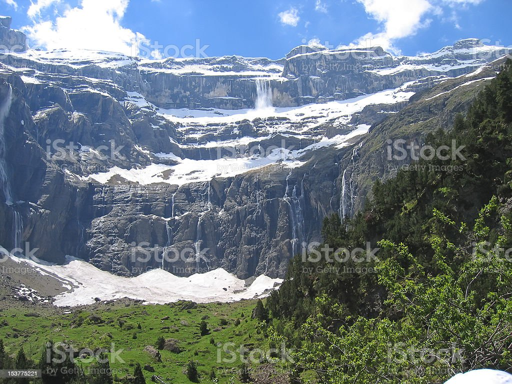 The gavarnie circus mountains with forests in foreground and many stock photo