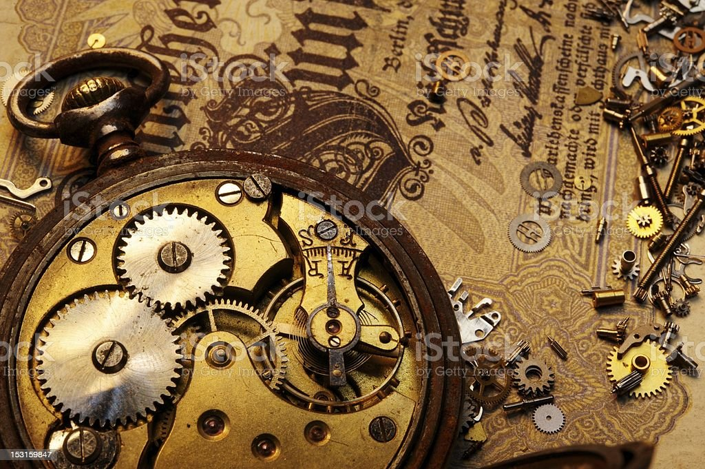 The gears on old banknote royalty-free stock photo