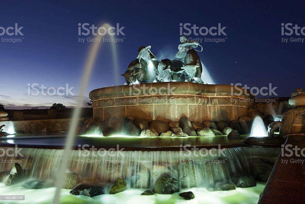 The Gefion Fountain in Copenhagen stock photo