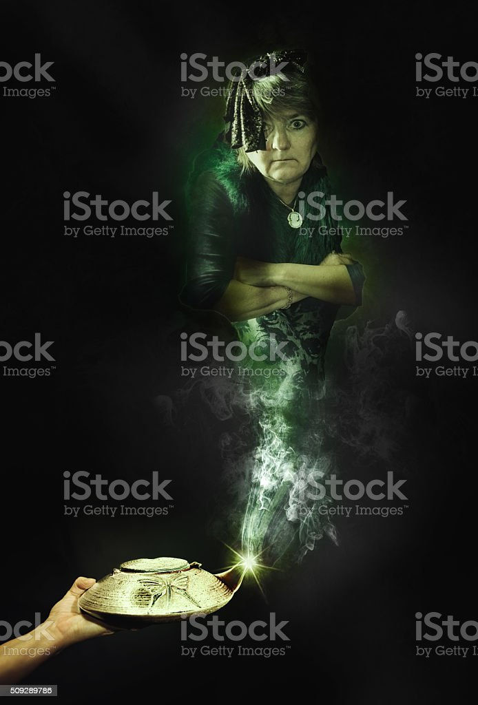 The genie of the lamp stock photo