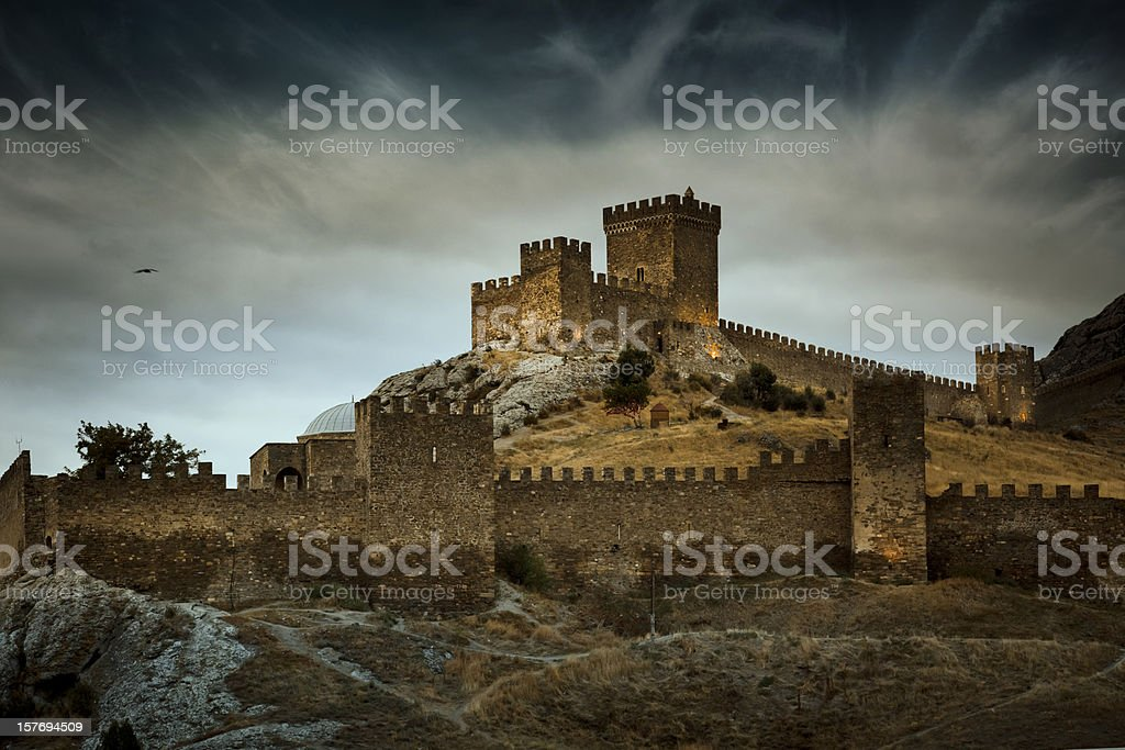 The Genoese Medieval fortress in Sudak, Crimea stock photo