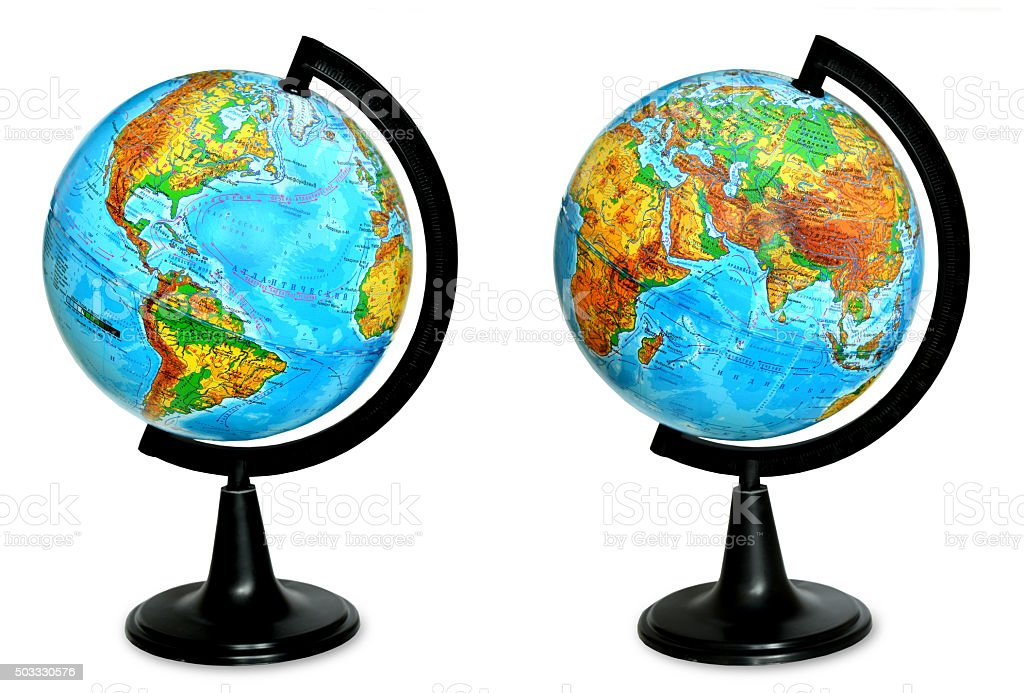 the geographic globe isolated on white background stock photo
