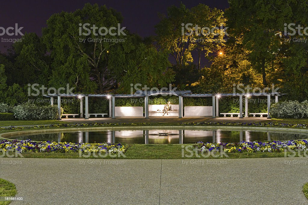 The George Mason Memorial in Washington DC at night stock photo