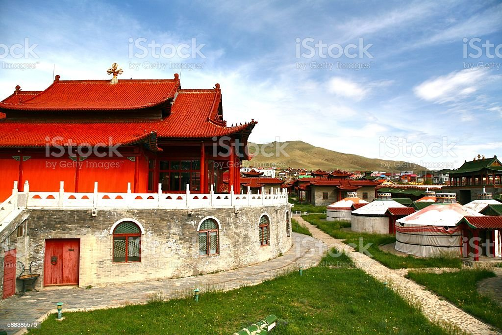 The ger camp  in a large meadow at Ulaanbaatar , Mongolia stock photo