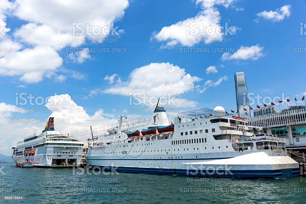 The German charity ship MV Logos Hope in Hong Kong stock photo