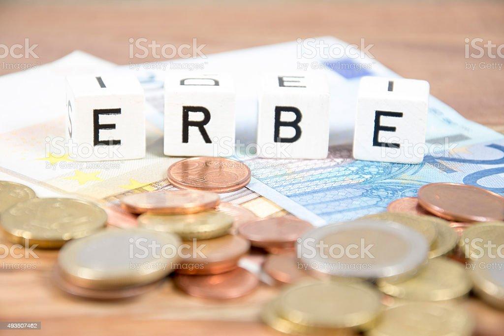 the german word erbe stock photo