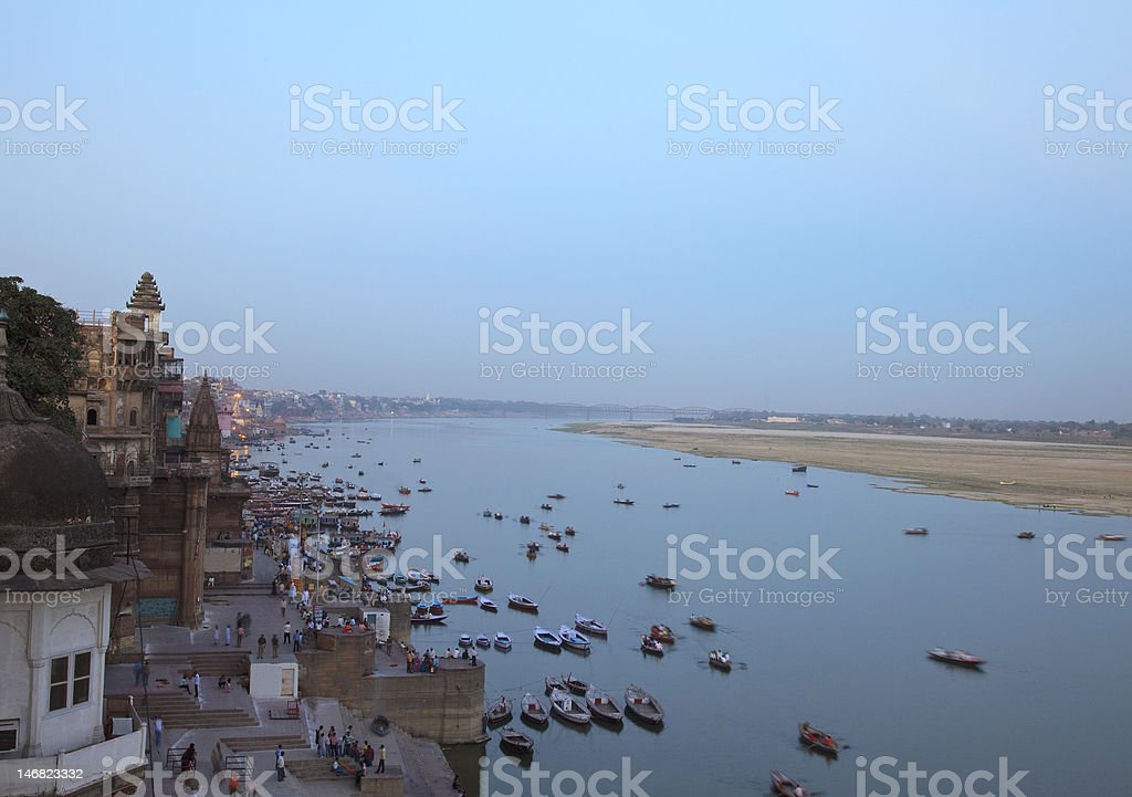 The Ghats In Varanasi royalty-free stock photo