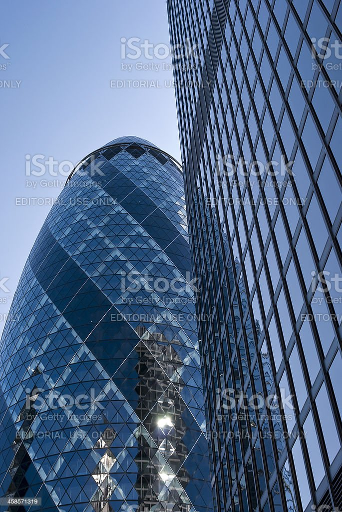 The Gherkin and St Helen's building skyscrapers in central London royalty-free stock photo